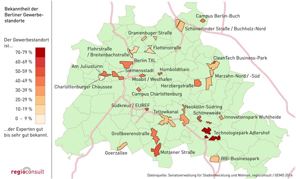 Bekanntheit verschiedener Gewerbestandorte in Berlin. Ergebnis des Gewerbeflächenmonitorings 2016 von regioconsult
