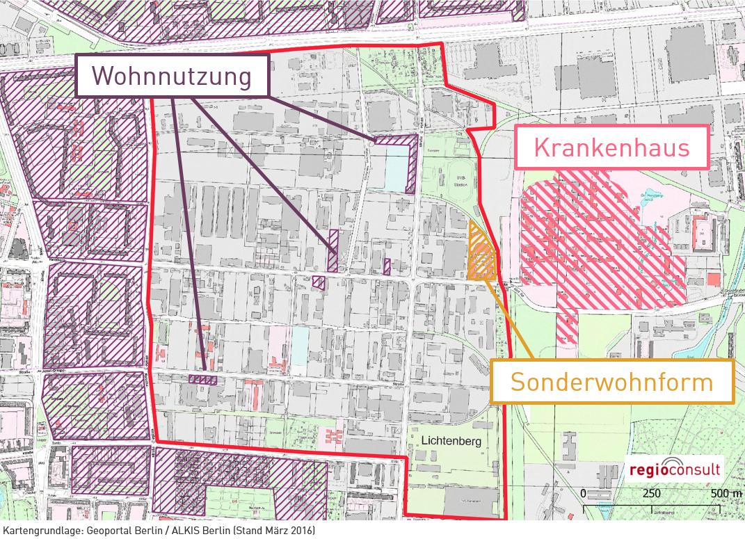 Nutzungskonkurrenzen am Beispiel des Gewerbegebiets Herzbergstraße. Graphik: regioconsult