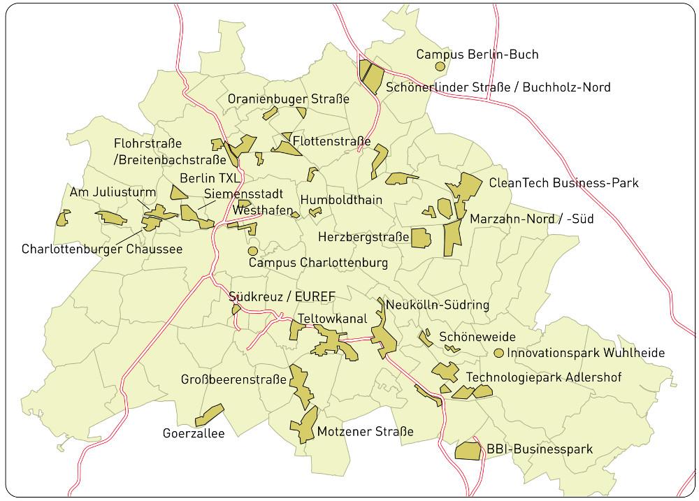 Gewerbegebiete in Berlin. Datenquelle: Senatsverwaltung für Stadtentwicklung und Umwelt, Graphik: regioconsult.