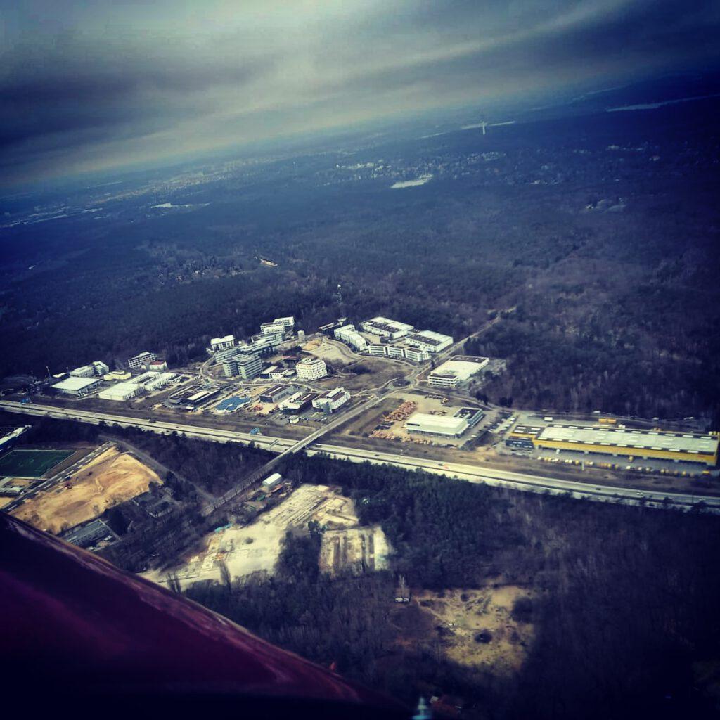 Luftaufnahme des Gewerbeparks Dreilinden