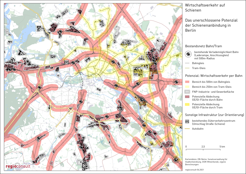 kartographische Darstellung der potenziellen Abdeckung von Industrie- und Gewerbestandorten durch das bestehende Schienennetz (+ eine moderne letzte-Meile-Logistik)